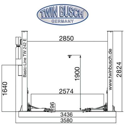 2 Koloms hydraulische Hefbrug 4.2 ton –BASIC LINE Automat